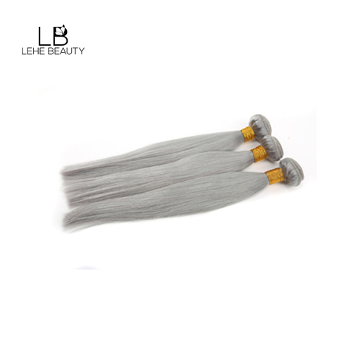 Grey color human hair straight bundles