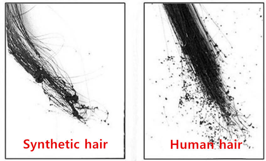 After burned human hair and synthetic hair tests results