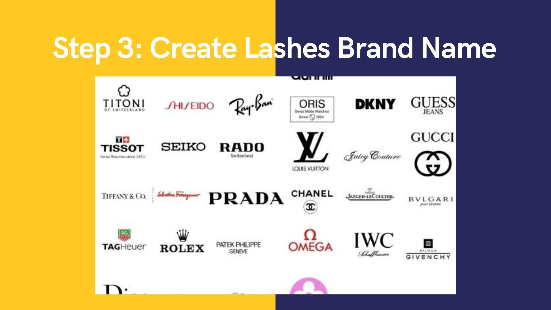 Step 3 Create Lashes Brand Name